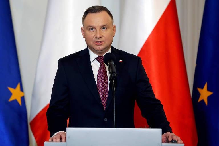 O presidente polonês, Andrzej Duda, em discurso em Varsóvia