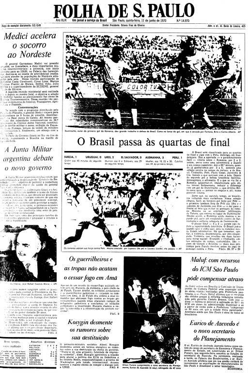 Primeira Página da Folha de 11 de junho de 1970