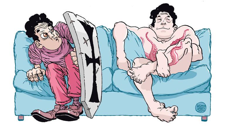 Ilustração de um mesmo personagem em duas situações que ocorrem simultaneamente em um sofá azul. Em uma, o homem está vestido segurando um escudo e, na outra, ele está nu com tentáculos de polvo em torno de algumas partes do corpo