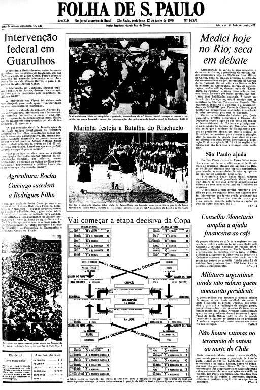Primeira Página da Folha de 12 de junho de 1970