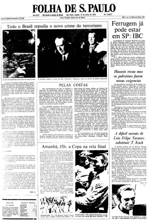 Primeira Página da Folha de 13 de junho de 1970