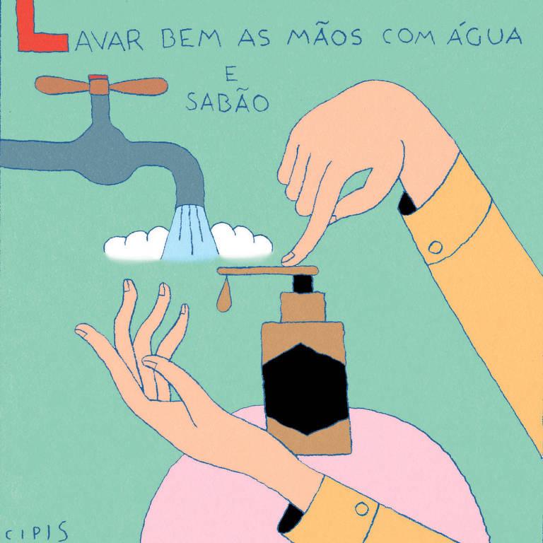 """ilustração com duas mãos sendo lavadas na torneira e apertando um pote de álcool em gel. Na imagem lê-se """"Lavar bem as mãos com água e sabão"""""""