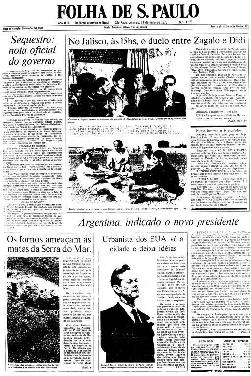 Primeira Página da Folha de 14 de junho de 1970