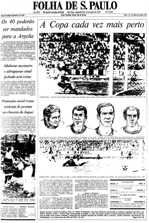 Primeira Página da Folha de 15 de junho de 1970