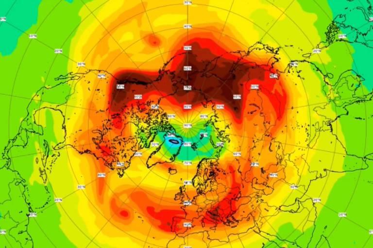 Imagem de buraco na camada de ozônio