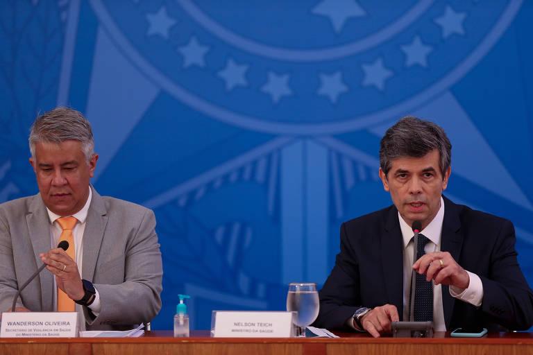 O ministro da Saúde, Nelson Teich, e o secretário Wanderson Oliveira (Vigilância em Saúde)