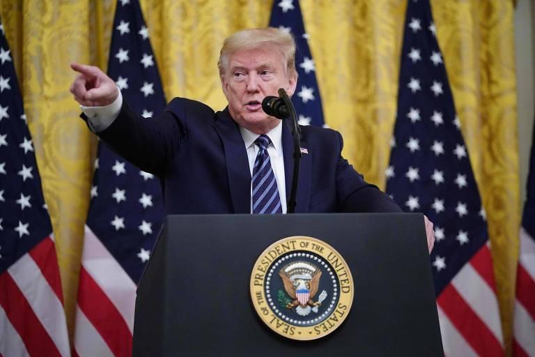 O presidente Donald Trump discursa na Casa Branca, em Washington