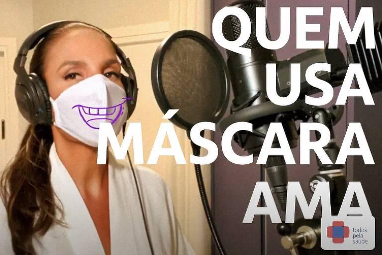 Ivete Sangalo em clipe para incentivar o uso de máscara contra o coronavírus