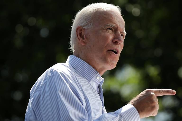 O ex-vice-presidente Joe Biden discursa durante lançamento na Filadélfia de sua campanha presidencial