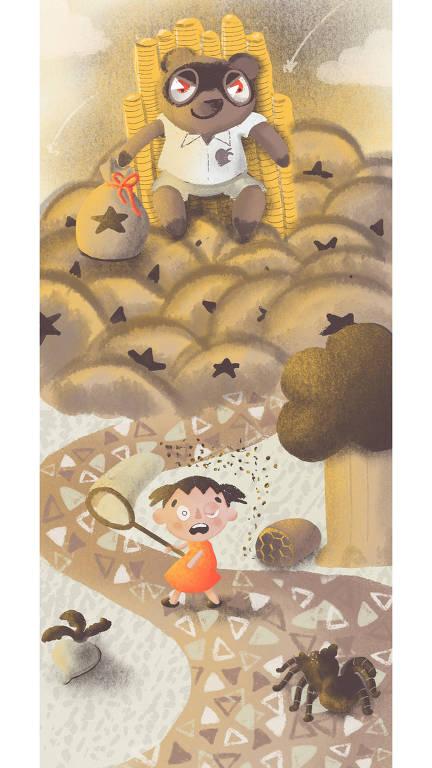 Ilustração baseada no Jogo Animal Crossing: New Horizons: Tom Nook, guaxinim personagem do jogo, está sentado sobre sacos de moeda, em um trono feito de moedas. Ele tem expressão maliciosa, e seus olhos são vermelhos. Abaixo, personagem foge de abelhas e de uma tarântula. Ao seu lado esquerdo, há um nabo, apodrecido.