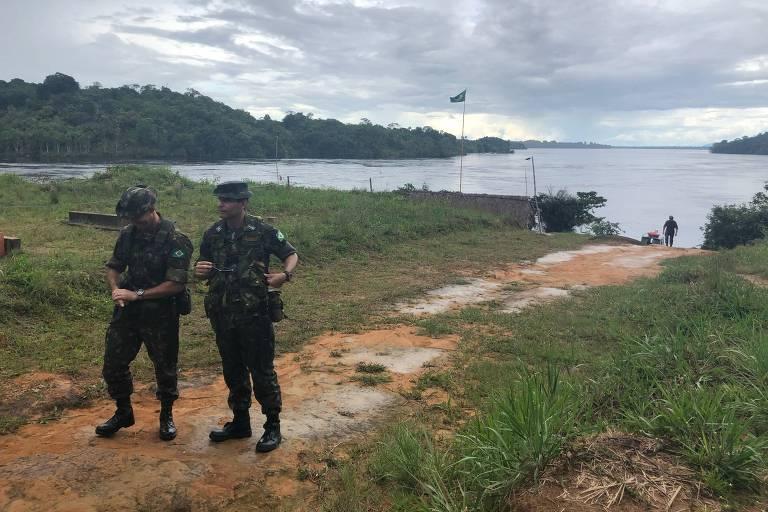 Base do Exército na ilha das Flores, perto do local do confronto que deixou um soldado morto, em São Gabriel da Cachoeira (AM)