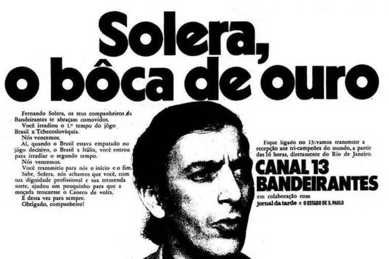 Publicação faz homenagem ao narrador Fernando Solera após a Copa do Mundo de 1970