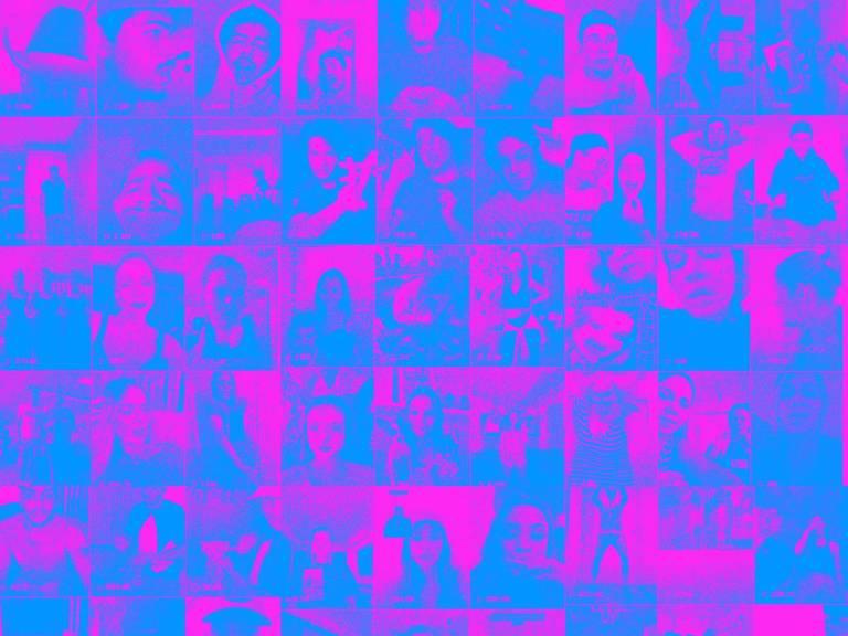 Montagem a partir de alguns dos perfis mais famosos do TikTok