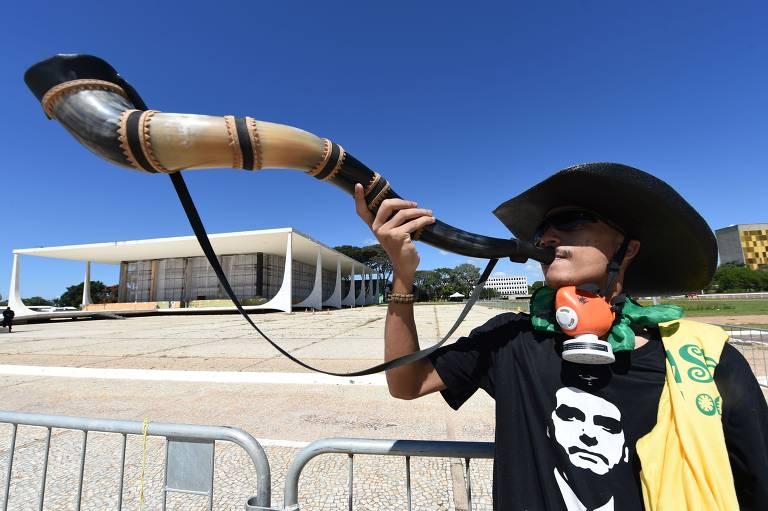 Manifestação de bolsonaristas contra o STF e o Congresso