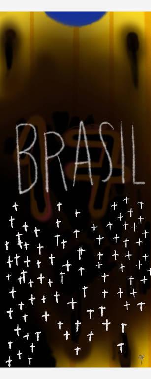 Ilustração mostra ao fundo camisa do brasil com o número 17 e na frente escrito Brasil com dezenas de lapides