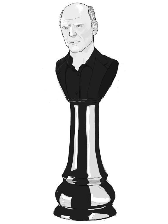 Peça de xadrez com homem em cima