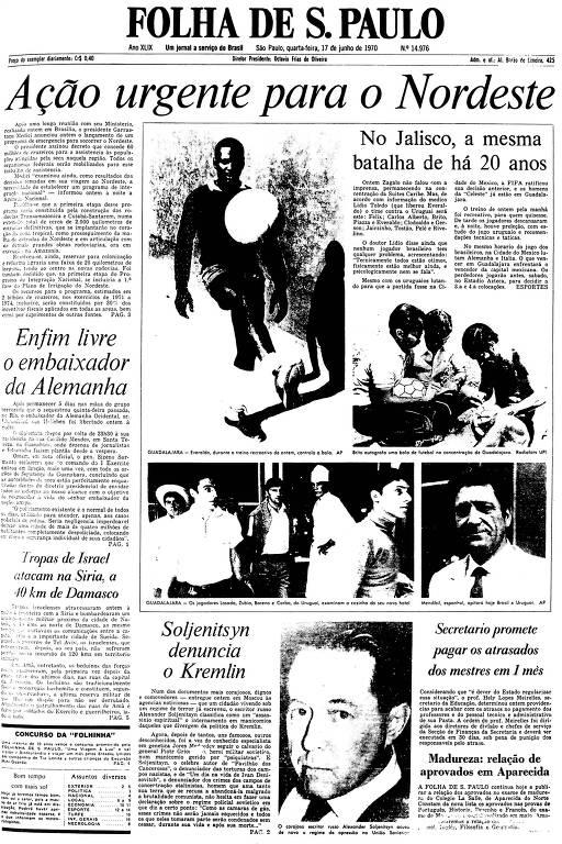 Primeira Página da Folha de 17 de junho de 1970