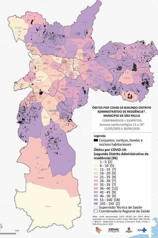 Mapa de mortes por Covid-19 em  SP