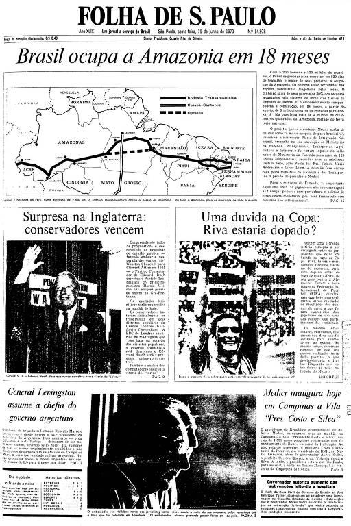 Primeira Página da Folha de 19 de junho de 1970