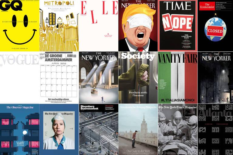 Capas de revistas de todo o mundo refletem diferentes aspectos da pandemia