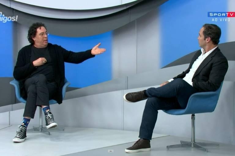 """Casagrande e Caio Ribeiro discutiram no programa """"Bem, Amigos!"""" desta segunda-feira (5)"""