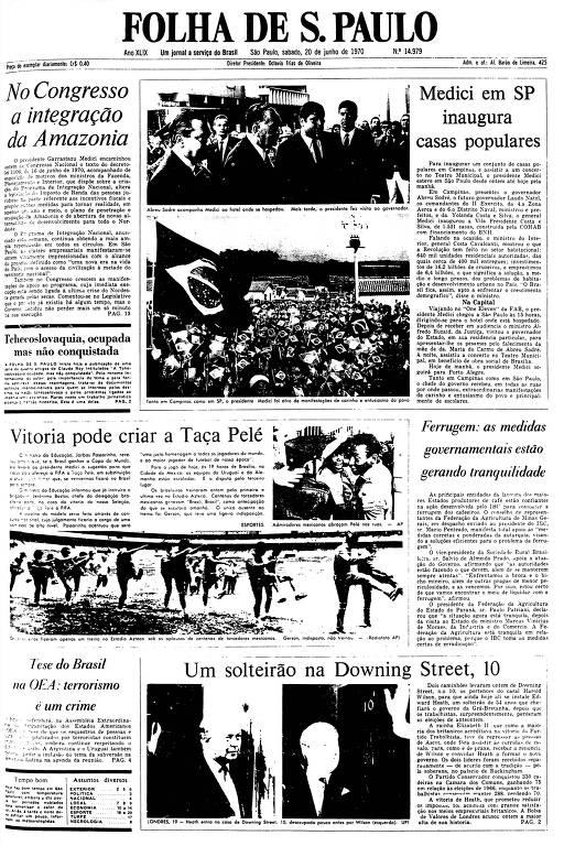 Primeira Página da Folha de 20 de junho de 1970