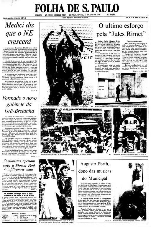 Primeira Página da Folha de 21 de junho de 1970