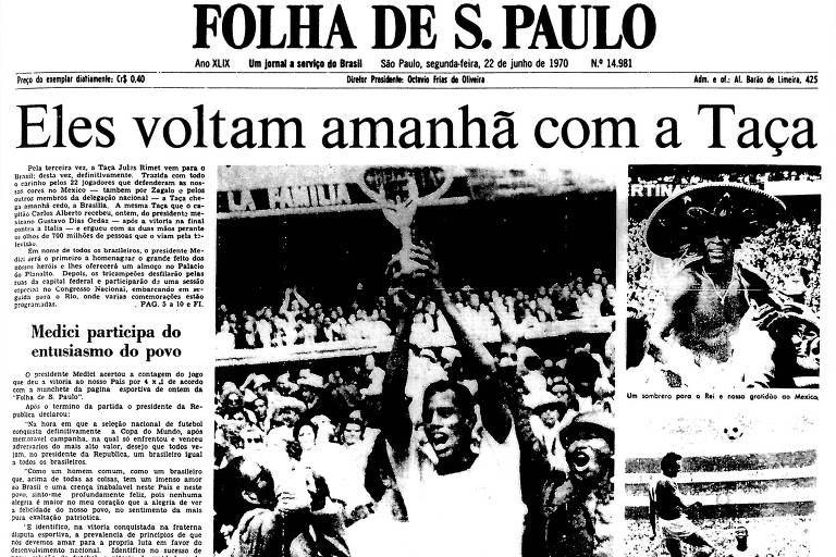 1970: Seleção brasileira goleia a Itália e se torna a 1ª a ser tricampeã mundial