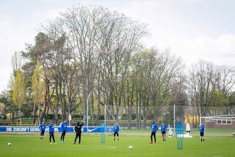 Treino do Hertha Berlim, time do atacante brasileiro Matheus Cunha