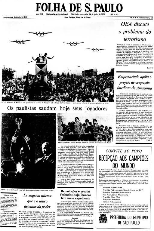 Primeira Página da Folha de 24 de junho de 1970