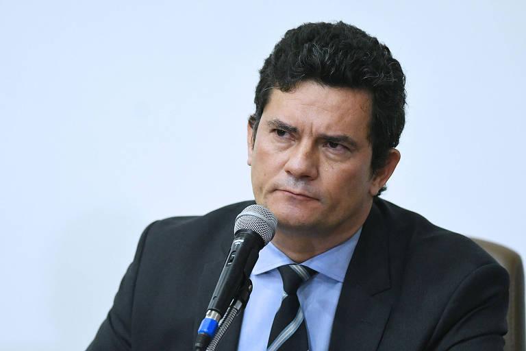 Sergio Moro durante a entrevista na qual anunciou a renúncia ao Ministério da Justiça
