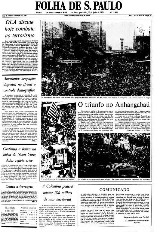 Primeira Página da Folha de 25 de junho de 1970