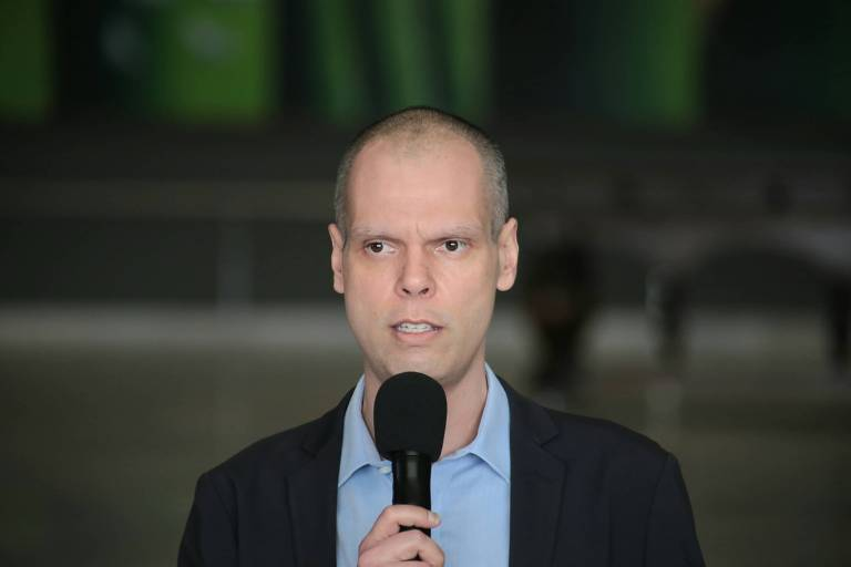 O prefeito Bruno Covas (PSDB) durante entrevista coletiva no Palácio dos Bandeirantes