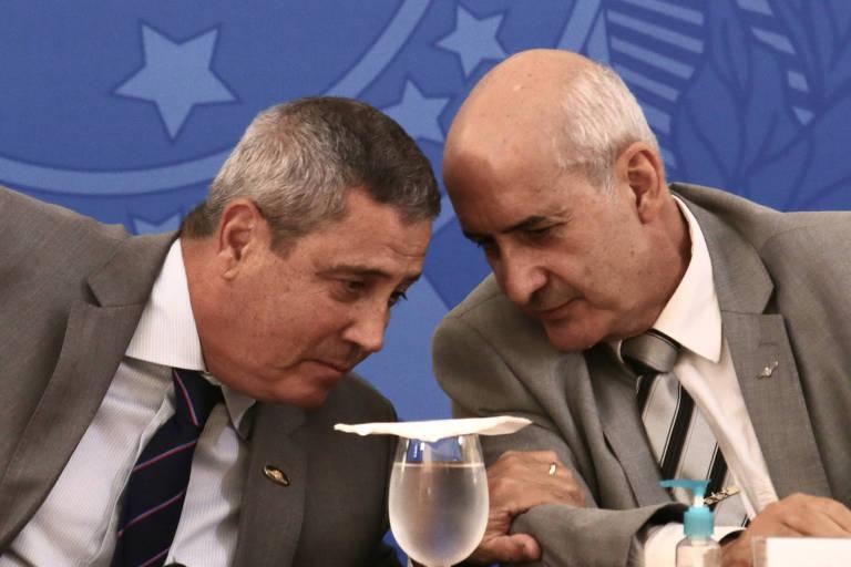 Os generais Walter Braga Netto (Casa Civil) e Luiz Eduardo Ramos (Secretaria de Governo) no Planalto