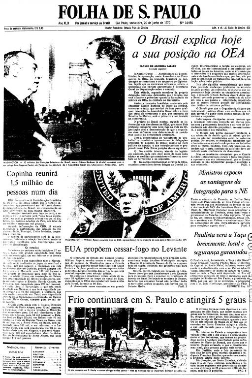 Primeira Página da Folha de 26 de junho de 1970
