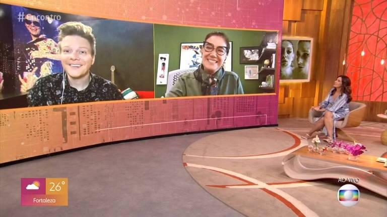 Michel Teló e Lilia Cabral no telão do Encontro com Fátima Bernardes