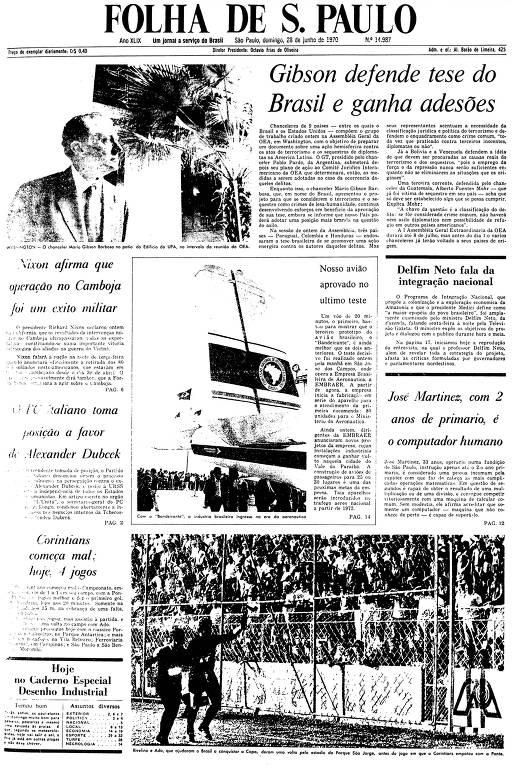 Primeira Página da Folha de 28 de junho de 1970
