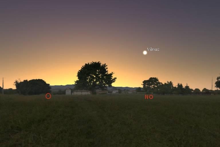 Simulação no Stellarium da noite do dia 7 de maio de 2020, com pôr do sol e Vênus às 17h45 em São Paulo