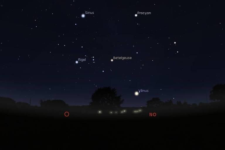 Simulação no Stellarium da noite do dia 7 de maio de 2020, com a constelação de Órion às 18h30