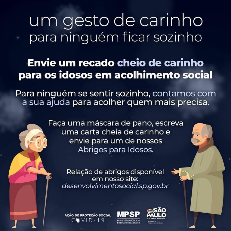 """Cartaz da campanha """"Um gesto de carinho para ninguém fica sozinho"""", da Secretaria de Desenvolvimento Social do Estado de São Paulo"""