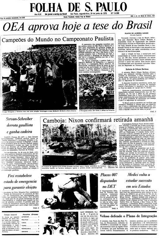 Primeira Página da Folha de 29 de junho de 1970