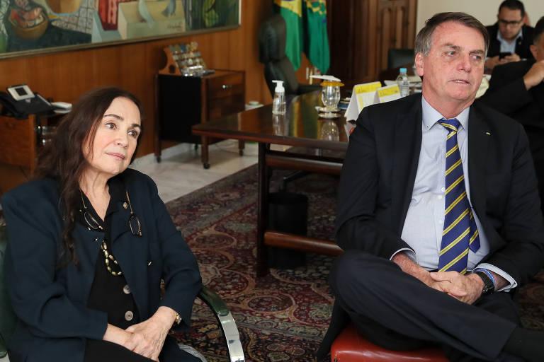 Veja fotos de reunião de Regina Duarte com Bolsonaro