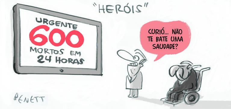 Charge publicada na página A2 do jornal Folha de S.Paulo em 7 de maio de 2020. Na legenda: Curió..Não te bate uma saudade?. (Benett/Folhapress)