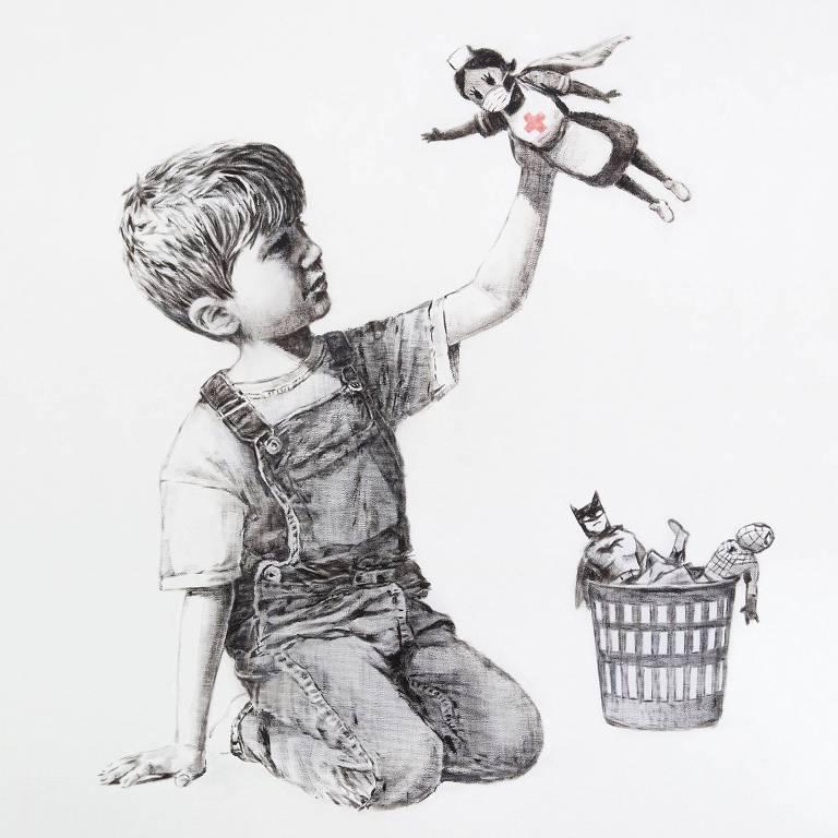 Obra de Banksy mostra um menino que tem nas mãos uma heroína: uma enfermeira