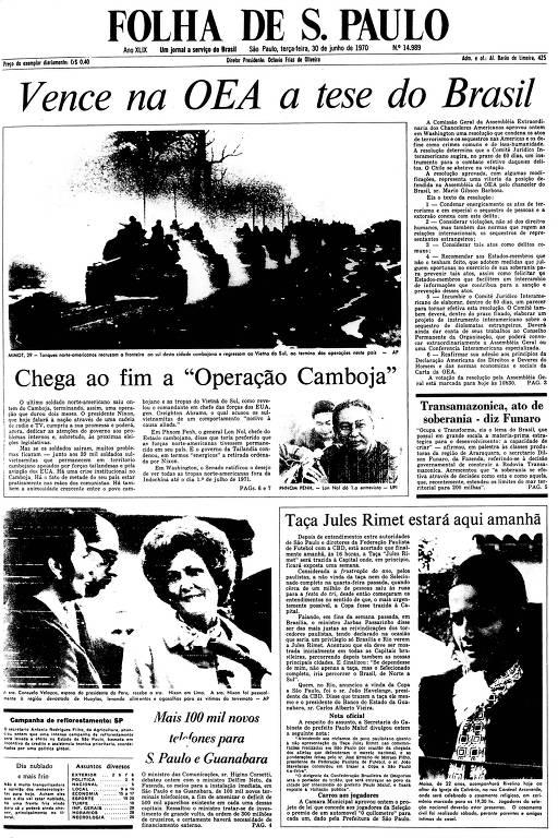 Primeira Página da Folha de 30 de junho de 1970