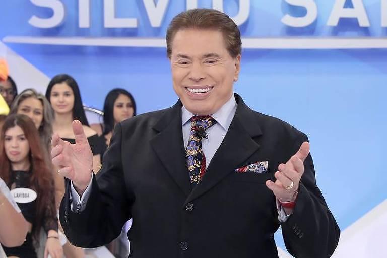 Silvio Santos durante gravação de seu programa no SBT