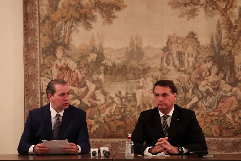 O presidente do STF, Dias Toffoli, recebe o presidente Jair Bolsonaro em visita ao prédio do Supremo nesta quinta (7)
