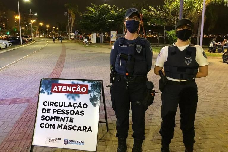 Guarda Municipal de Florianópolis fiscaliza o uso de máscaras em vias públicas