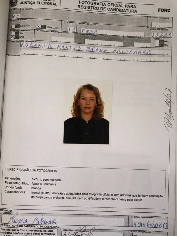 foto da página do registro de candidatura de Rogeria Bolsonaro
