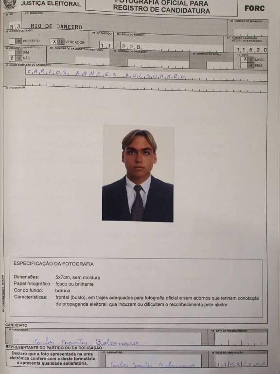 foto da página do registro de candidatura de Carlos Bolsonaro